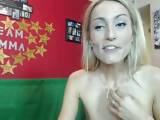 Same gorgeous slim blonde cum in face