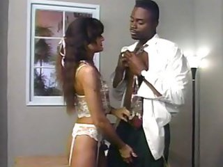 Ebony doctor gives hot unspecific in lingerie a full physical