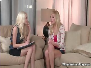 Sexy blonde babes get horny talking part3