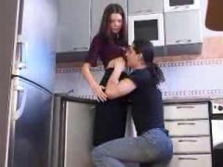 Sweet little teen girl gets fucked nice and deep in kitchen
