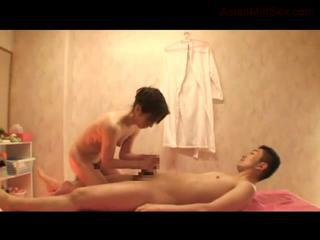 Skinny Milf Riding On Guy Cock Giving Blowjob Cum To Hands On The Massage Bed by sotegune