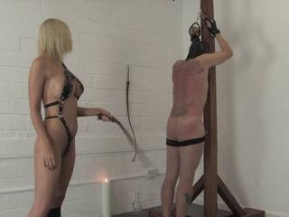 Kinky blonde mistress whips and tortures will not hear of slave