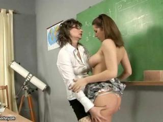 Mature teacher and her busty student