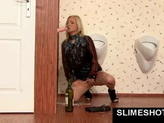 Weird bukkake at gloryhole with blonde