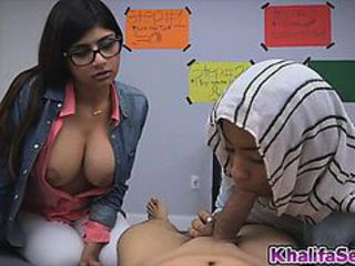 Cutie Mia Khalifa with a huge cock in her mouth