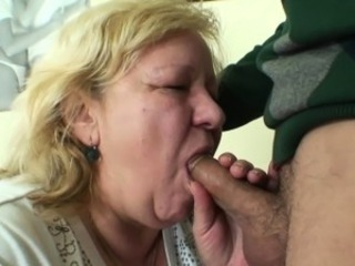 Huge old grandma sucks and rides young dick