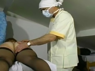 Fat mature got fist up her pussy at the regular gyno exam