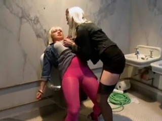 Lea Lexis has Her anal banged all over the Strapon inside Public Bathroom