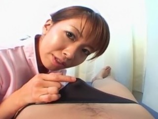 Youngster Japanese nurse gives her patient the dick suck uncensored