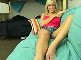 Amateur busty blonde college girl scalding dorm room coition