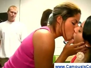 College girl sucking a guys balls