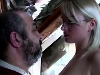 Lucky grandpa gets seduced by a beautiful teen blondie