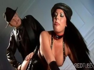 Clad in leather, one hot brunette bimbo gets fucked in dramatize expunge ass
