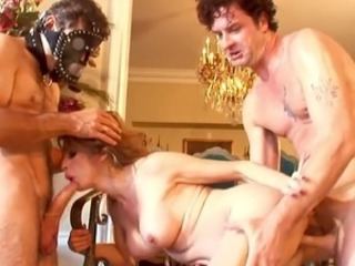 Stunning black haired moans during the kinky anal three some