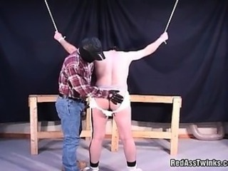 Hot gay guy gets bound and spnaked before pounding up tight