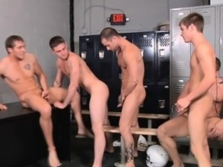 Hot gay twink double anal fucked in locker room