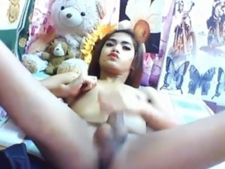 Giant horn ladyboy self-stimulation