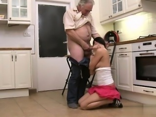 Horny daughter cum kiss