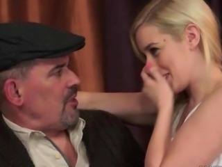 Cute teen blonde seducing old man