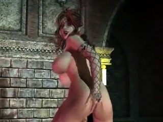 Busty 3D Medusa fingering and toying her pussy