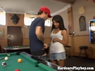 Ebony teen pays for robbery with fuck on pool table