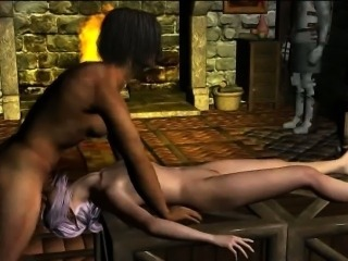 Sexy 3D cartoon elf babe sucks cock and gets fucked