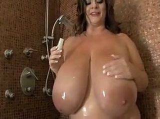 Big tits not far from the shower