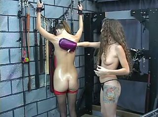 Sexy young slave gets her arms countable above her head and gets puni...