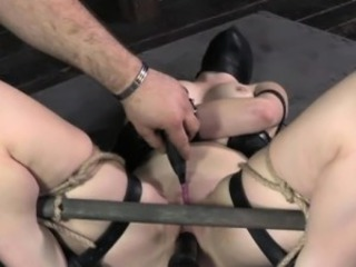 BDSM sub in slave mask gets dildofucked