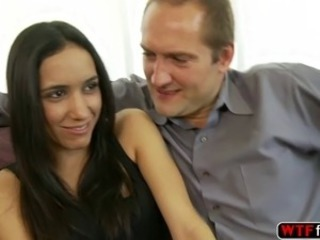 Tia Cyrus cumshot in the ass by stepdad