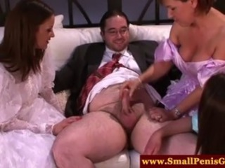 CFNM doms playing with his teeny tiny cock while in dressups