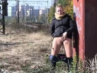 Hot chicks obtain off panties for a pee in public