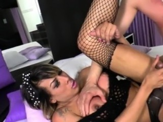 Oustandingly boobs tranny ass fucked by hot guy on the top of the bed