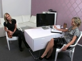 Hot blonde amateur after short interview with female agent strips off her...