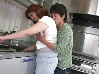 Asian Chubby Japanese Kitchen Mature Mom Old and Young