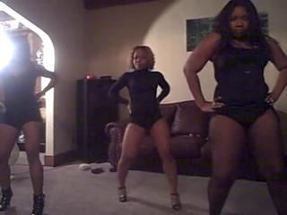 3 Hot Knavish Women dance very down in the mouth