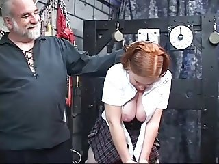 Chubby redhead toyed and ass fingered by older mendicant