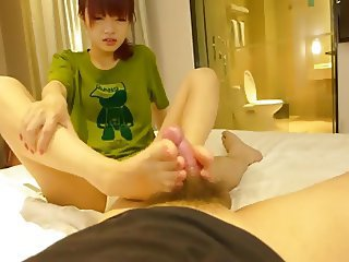 18yr old Chinese Sucks gives Footjob & Fucks (Uncensored)