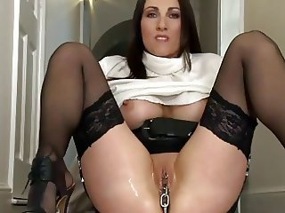 Kinky Full-grown Pulls a Chain from her Pussy