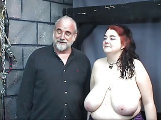 Thick big teat kinky slave unsubtle is whipped and abused in an obstacle sex dungeon