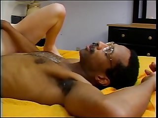 Erotic young blonde loves sucking and screwing a huge black cock full of cum