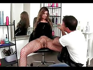 MILF  is dominated in a hair salon