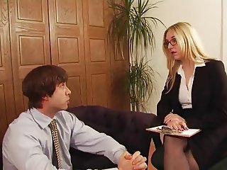 Posh Office Mistress has carnal knowledge with their way slave