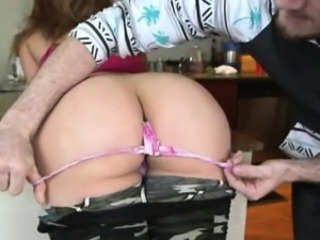 Busty babe with big ass rides cock n doggied in the kitchen