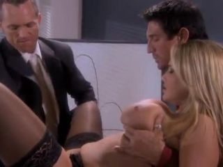 very sexy blonde enjoys 2 cocks