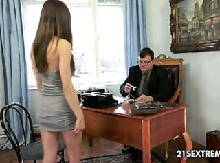 Alice romain fucks her old boss _: old man young woman office