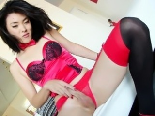 Asian ladyboy tugs cock