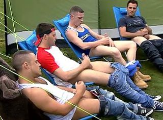 Six bungling studs jerking their big cocks outdoor