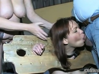 Awesome redhead is abused by two horny part6