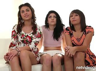 Three gorgeous friends fucked at their casting